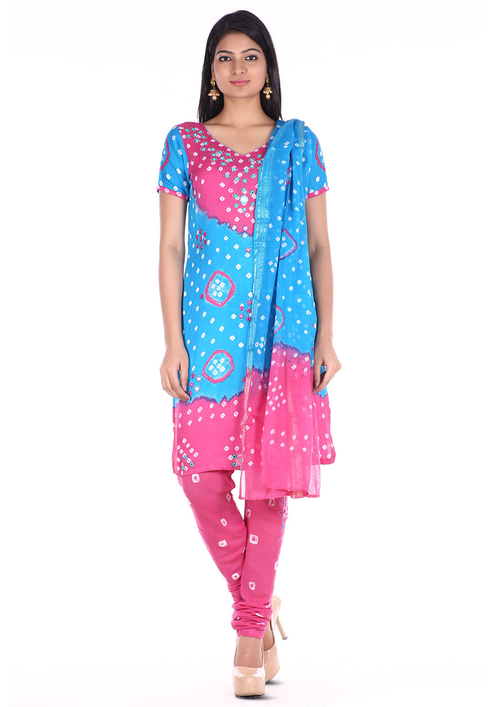 Bandhej Cotton Straight Suit in Sky Blue