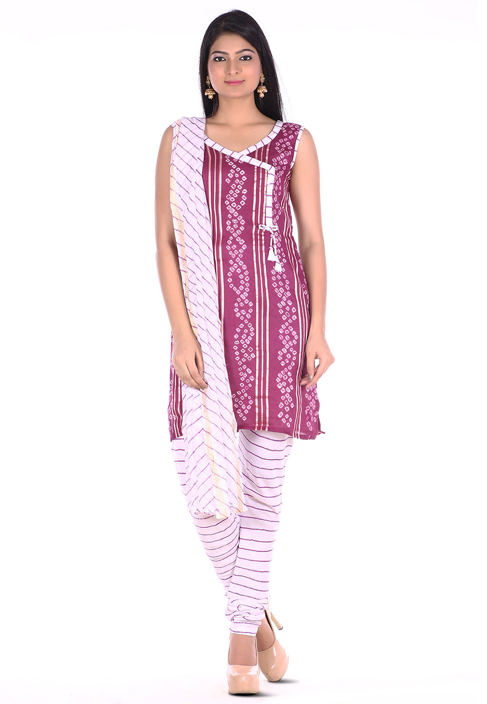 Bandhej Cotton Straight Suit in Light Purple