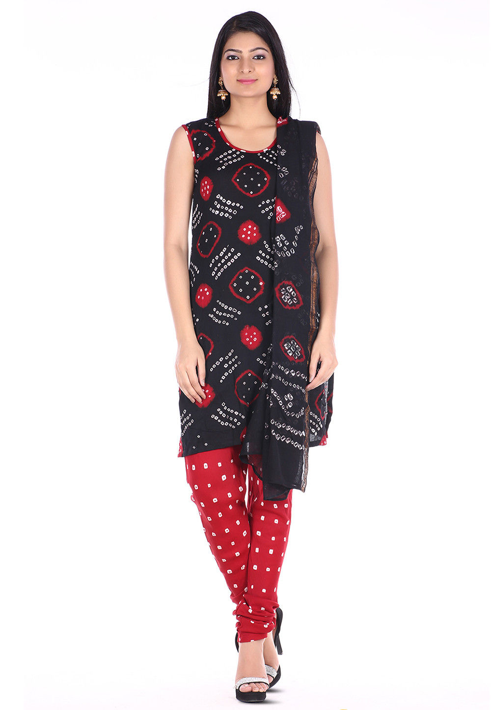 Bandhej Cotton Straight Suit in Black