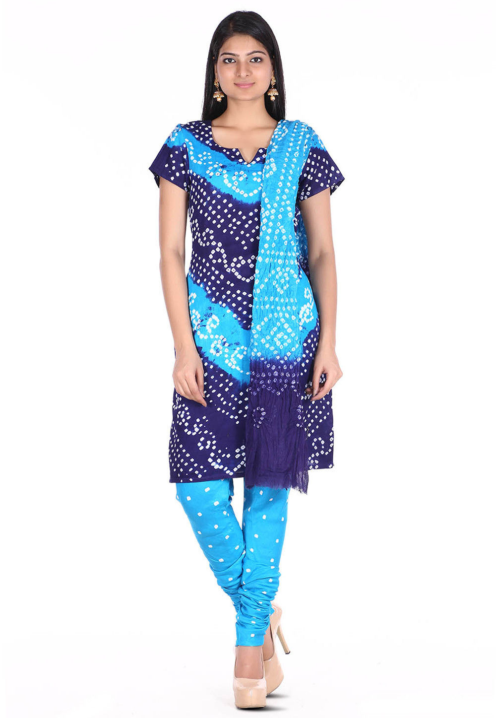 Bandhej Cotton Straight Suit in Blue