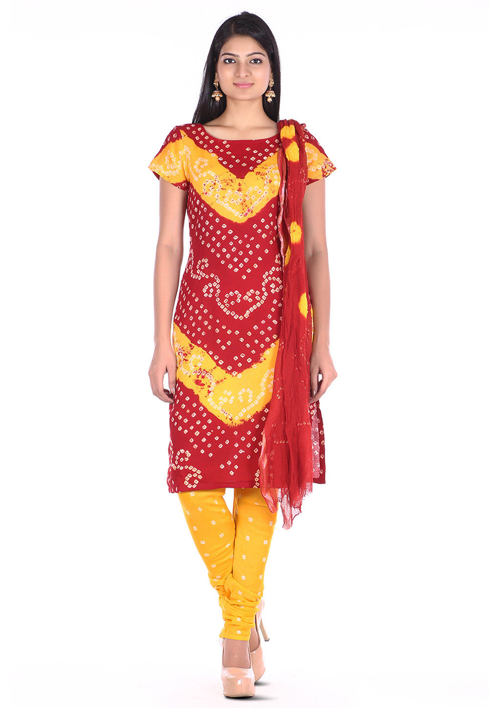 Bandhej Cotton Straight Suit in Red and Yellow