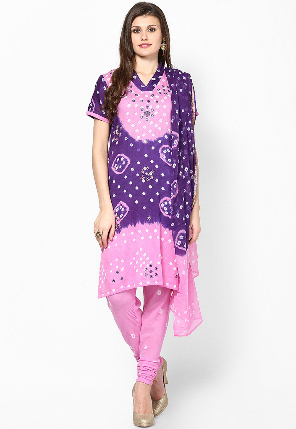 Embroidered Cotton Straight Cut Suit in Purple and Pink