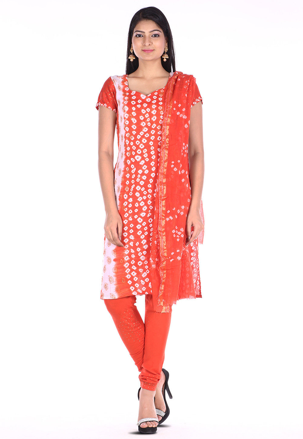 Bandhej Cotton Straight Suit in Orange