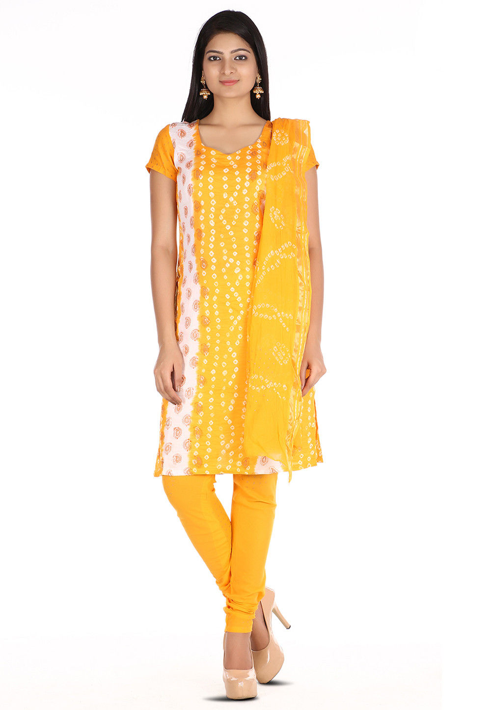 Bandhej Cotton Straight Suit in Mustard