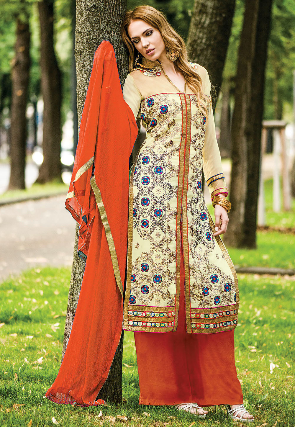 Embroidered Pakistani Front Slit Suit in Light Beige