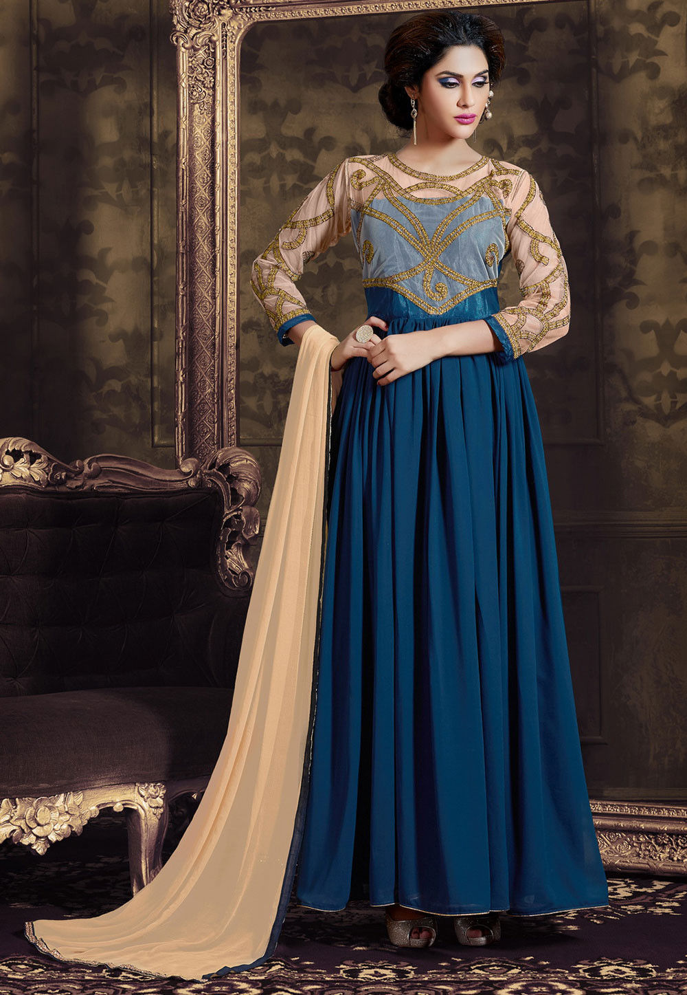 Embroidered Abaya Style Georgette and Net Suit in Blue