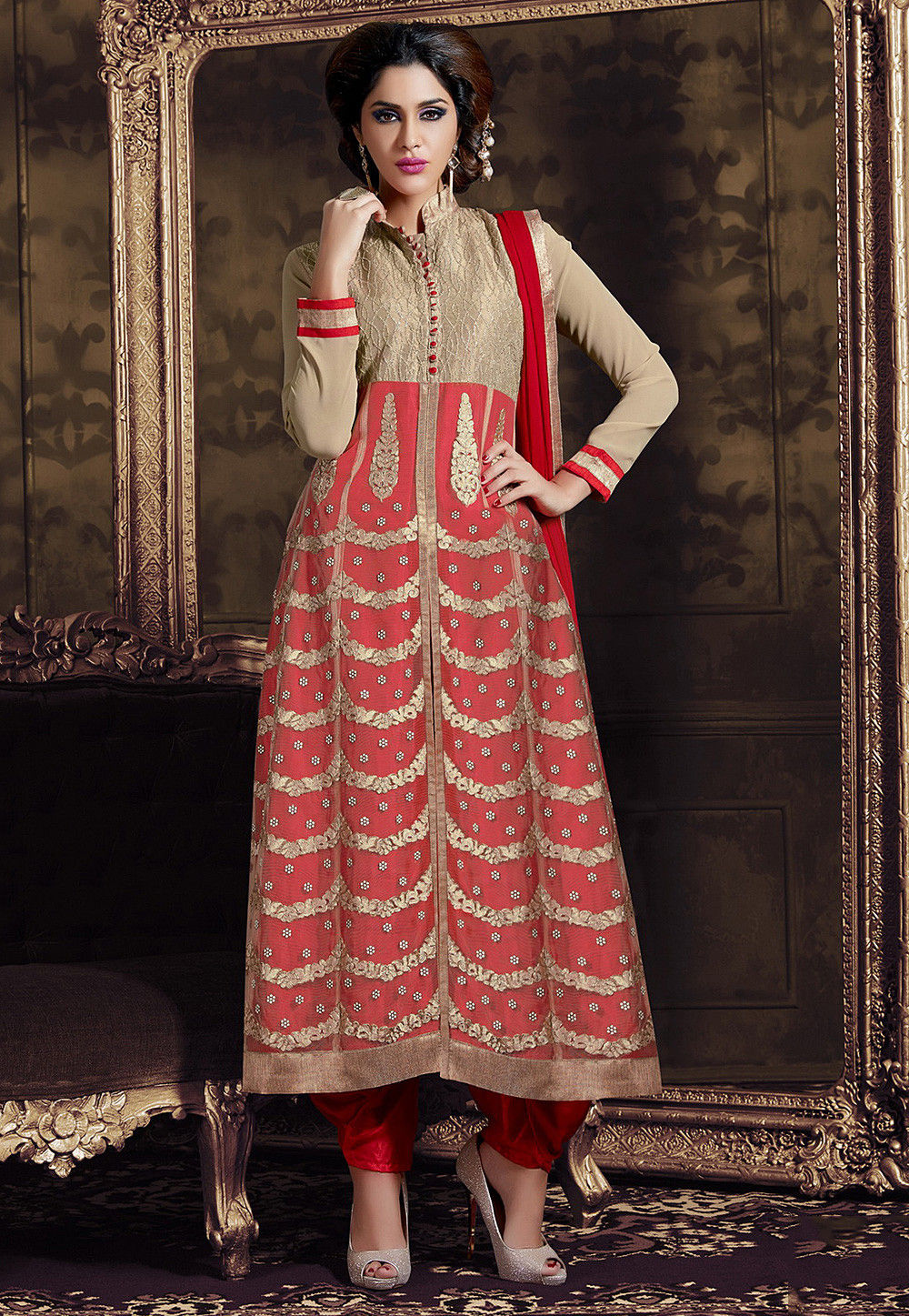 Embroidered A Line Front Slit Georgette Suit in Red