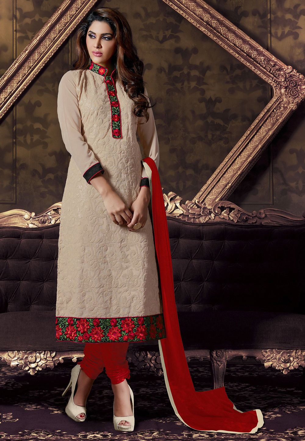 Embroidered Straight Cut Georgette Suit in Beige