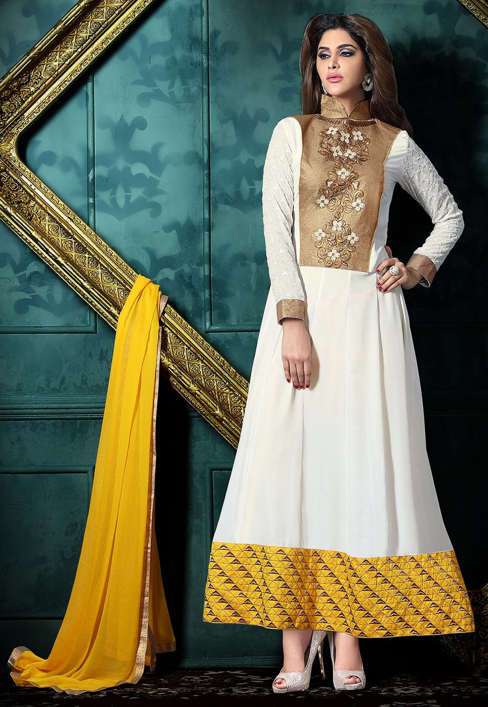 Embroidered Georgette Satin Abaya Style Suit in Off White