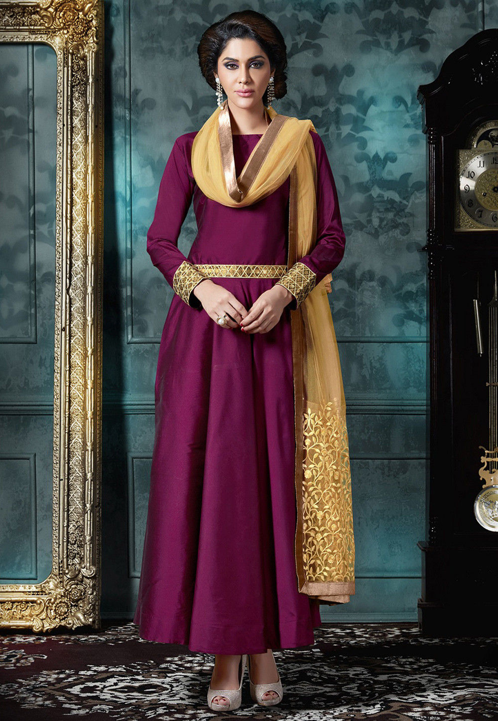 Plain Art Silk Abaya Style Suit in Magenta