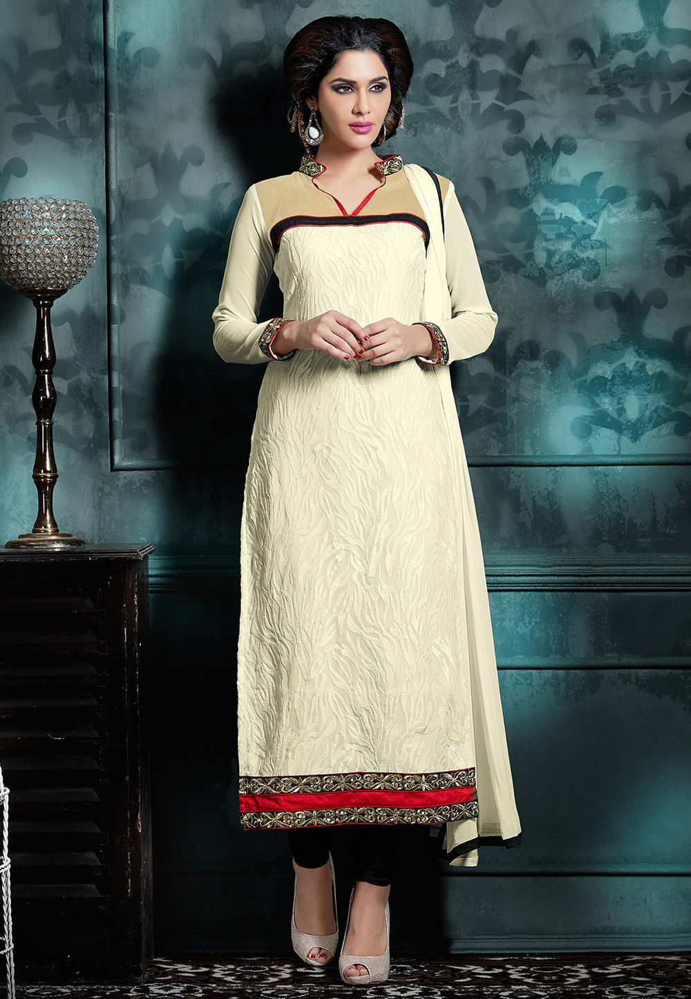 Embroidered Georgette Straight Cut Suit in Cream