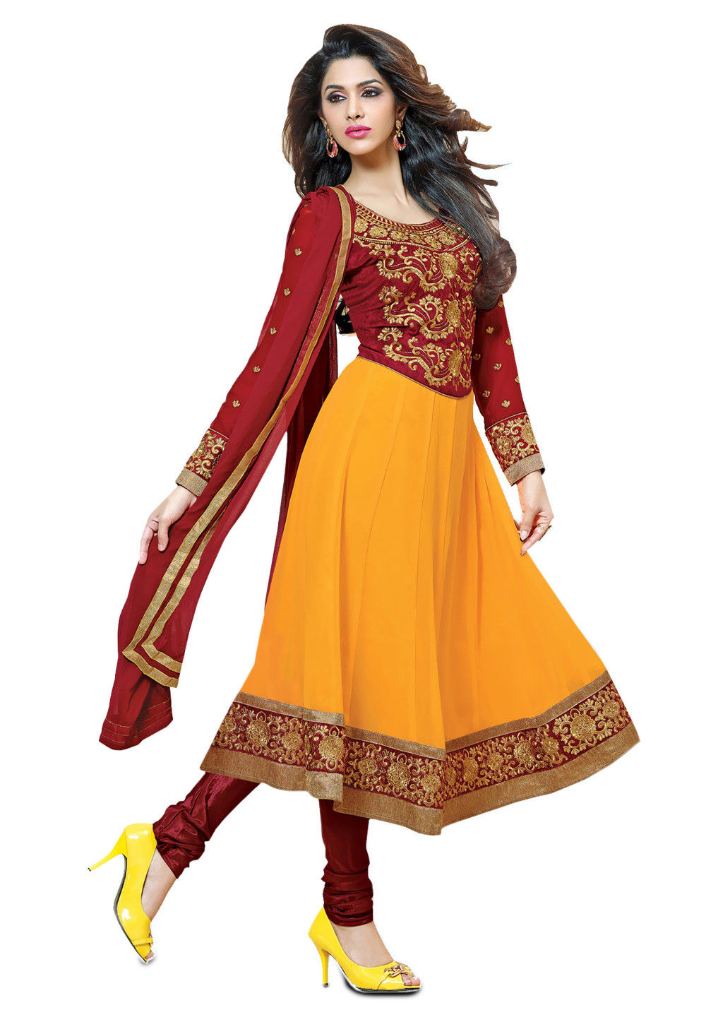 Embroidered Anarkali Georgette Suit in Mustard and Maroon