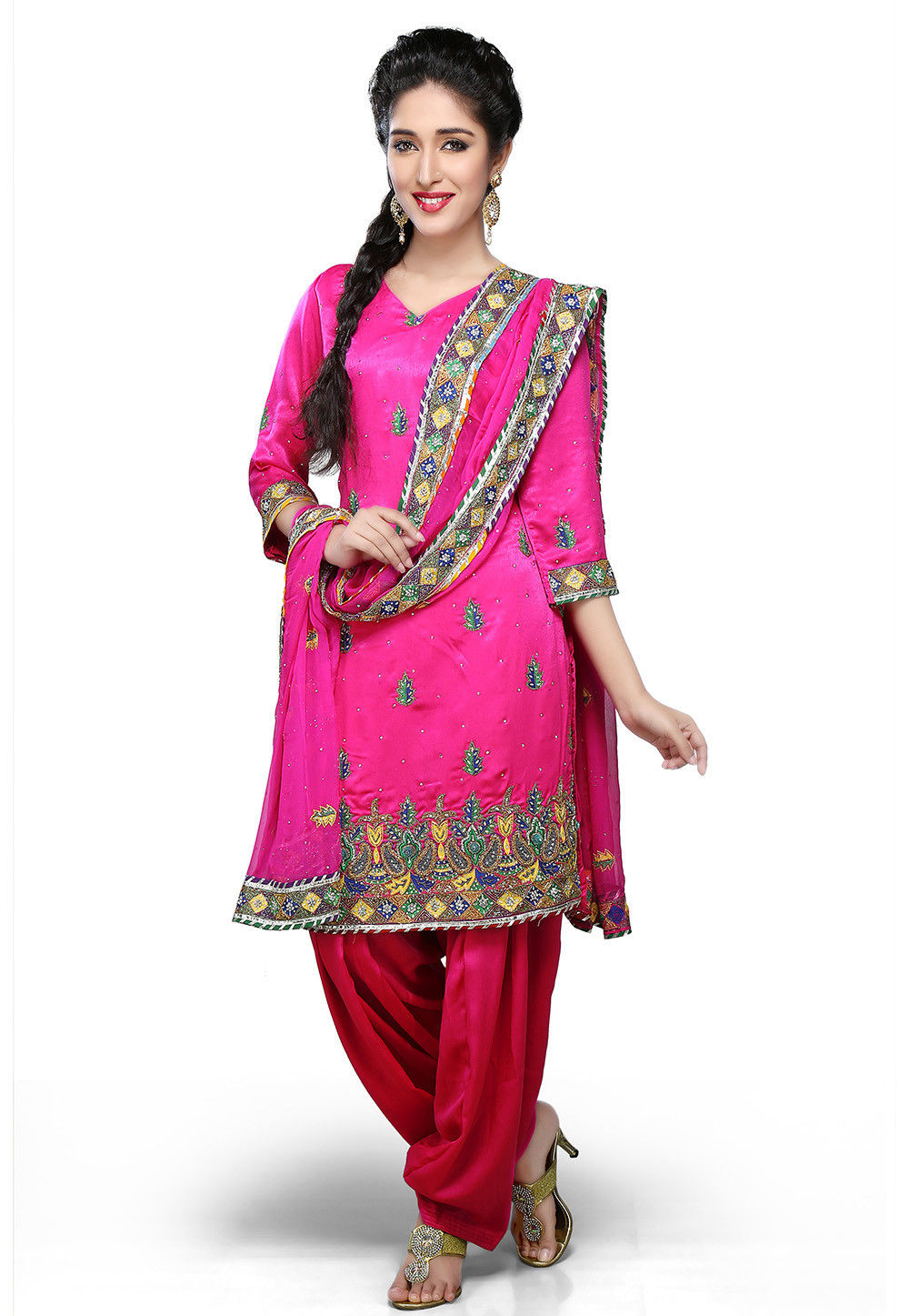 Embroidered Crepe Straight Cut Suit in Fuchsia