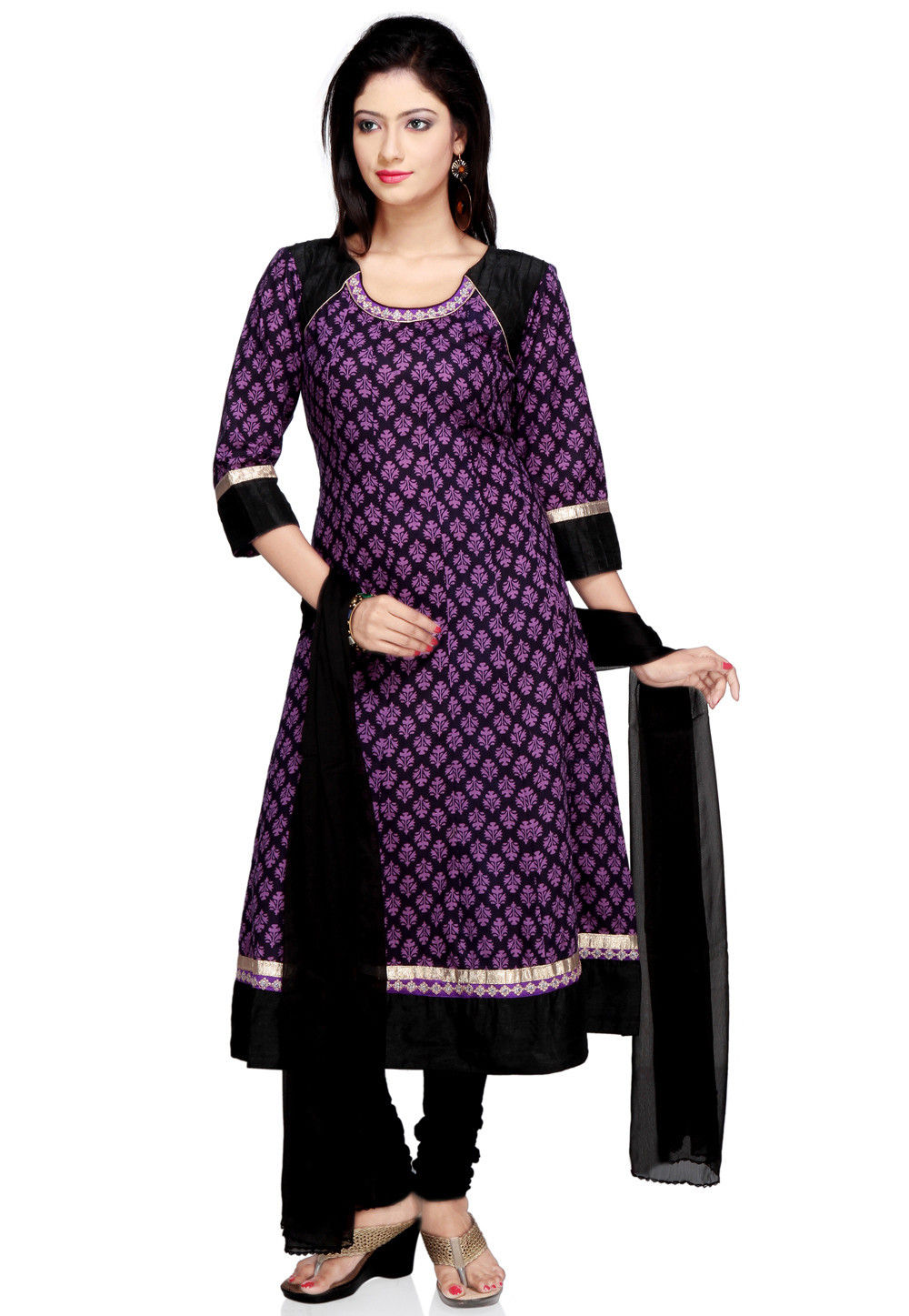 Printed Anarkali Suit in Black and Purple