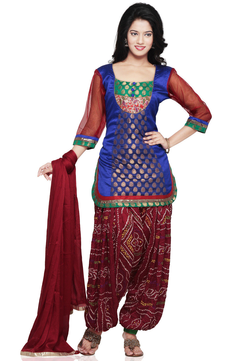 Chanderi and Dupion Silk Punjabi Suit in Royal Blue