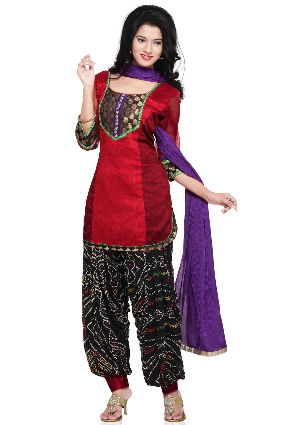 Ghicha Silk punjabi Suit in Red and Maroon