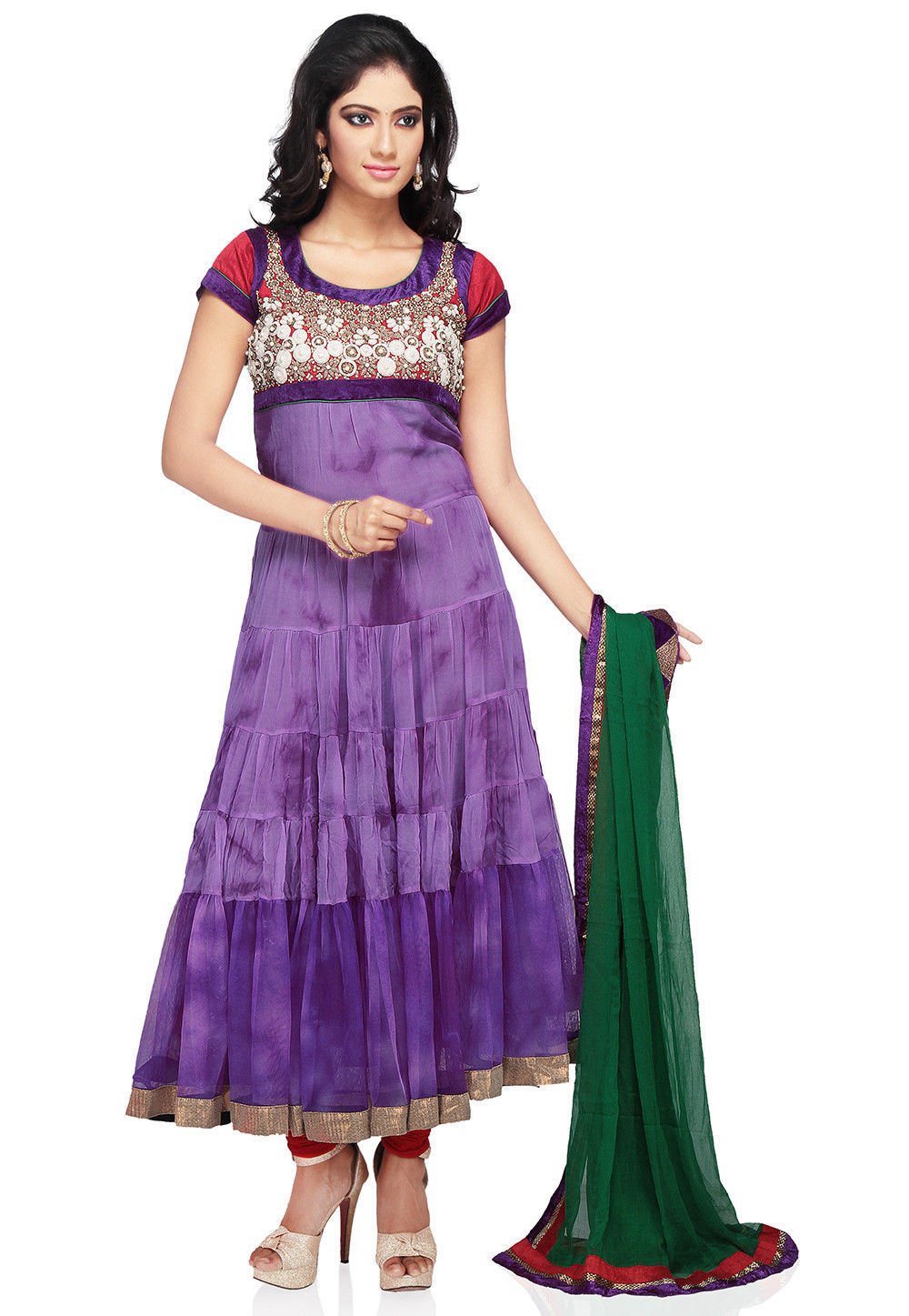 Embroidered Anarkali Suit in Purple