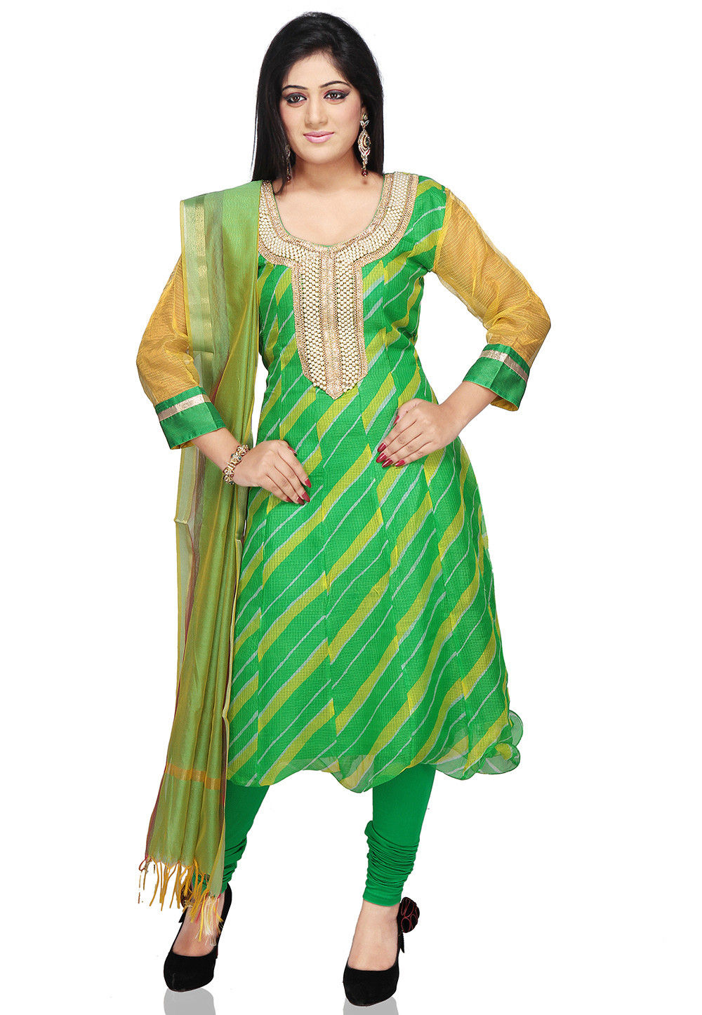 Embroidered Anarkali Suit in Green