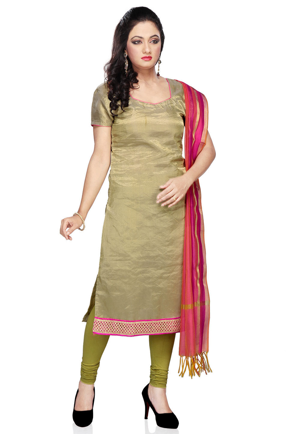 Straight Cut Banarasi Tissue Suit In Olive Green