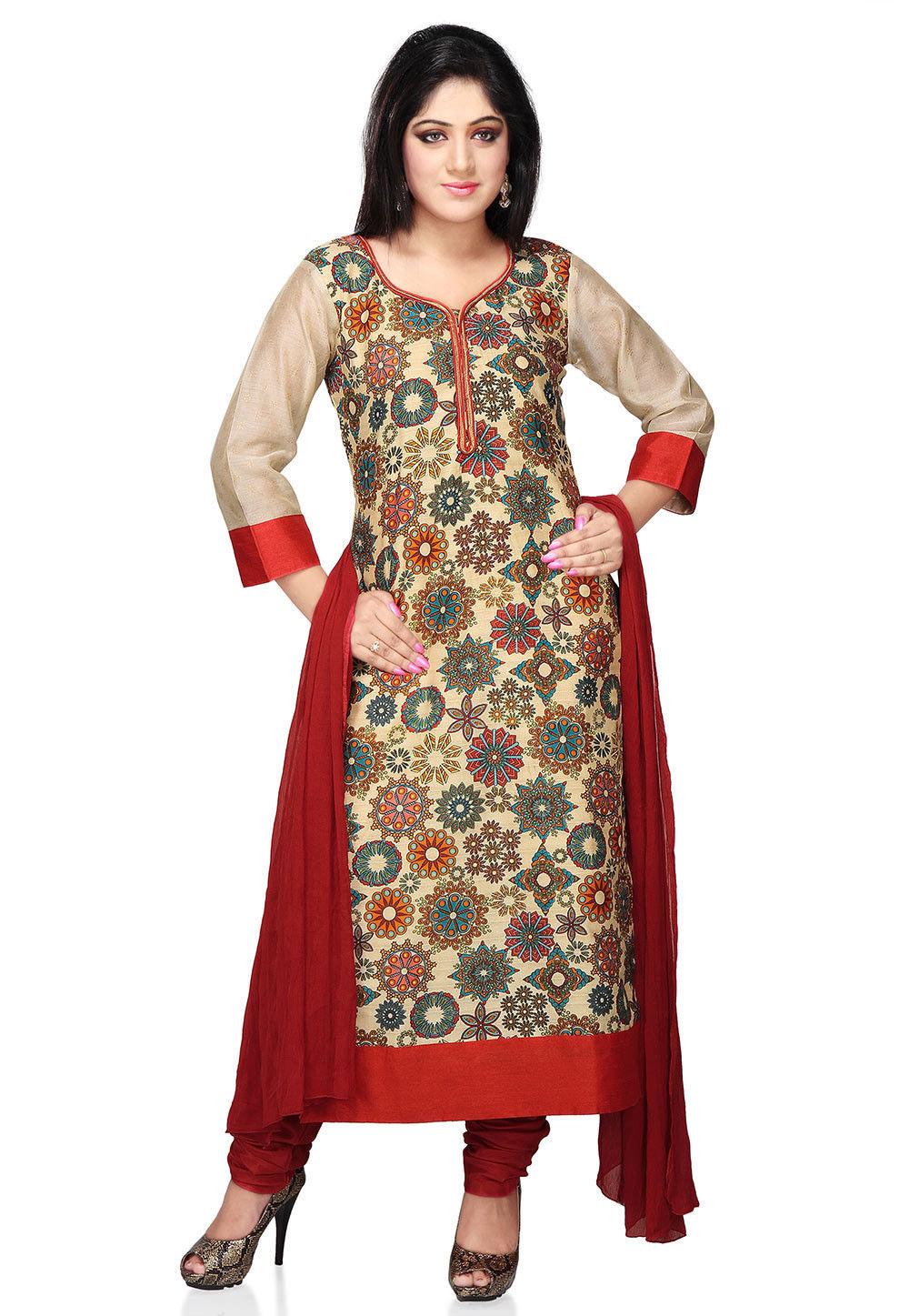 Printed Straight Cut Bhagalpuri Silk Suit in Beige