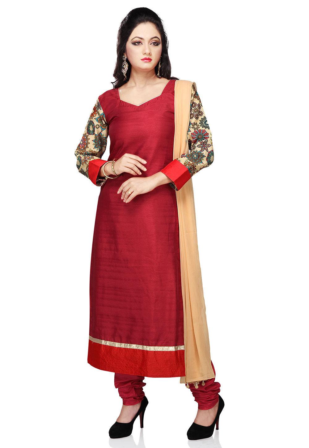 Straight Cut Bhagalpuri Silk Suit in Maroon