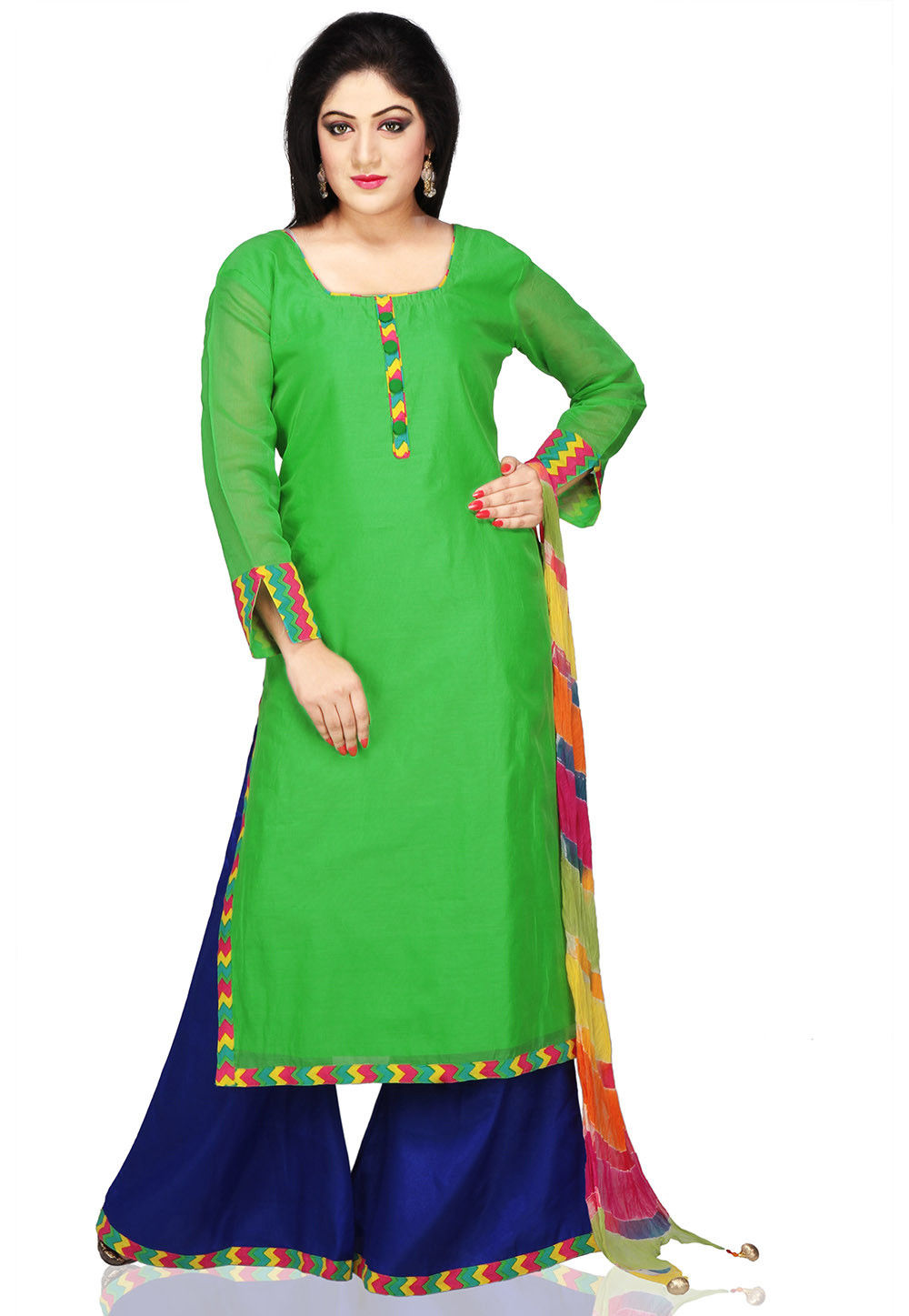 Straight Cut Chanderi Suit in Green