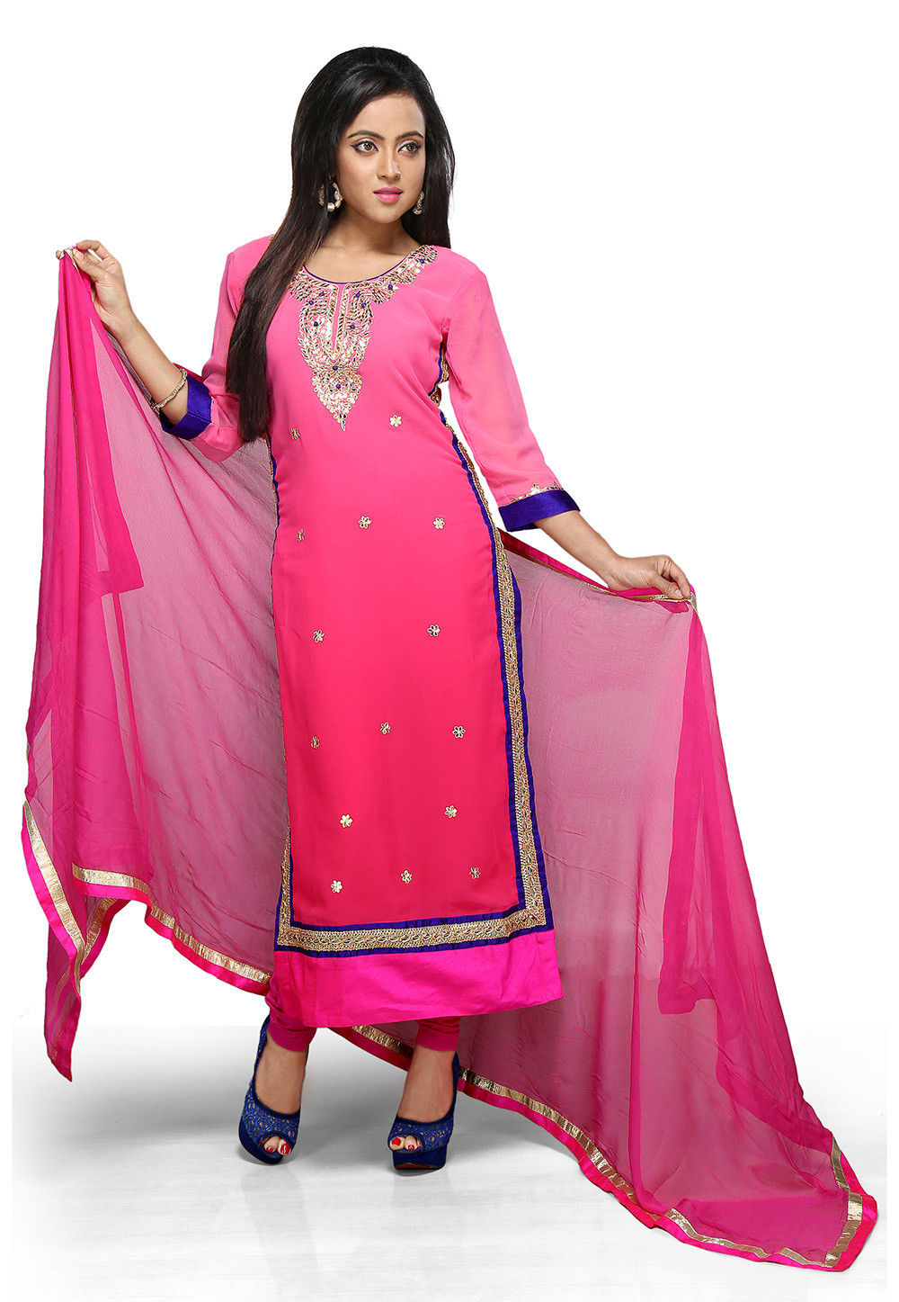 Embroidered Georgette Straight Cut Suit in Pink