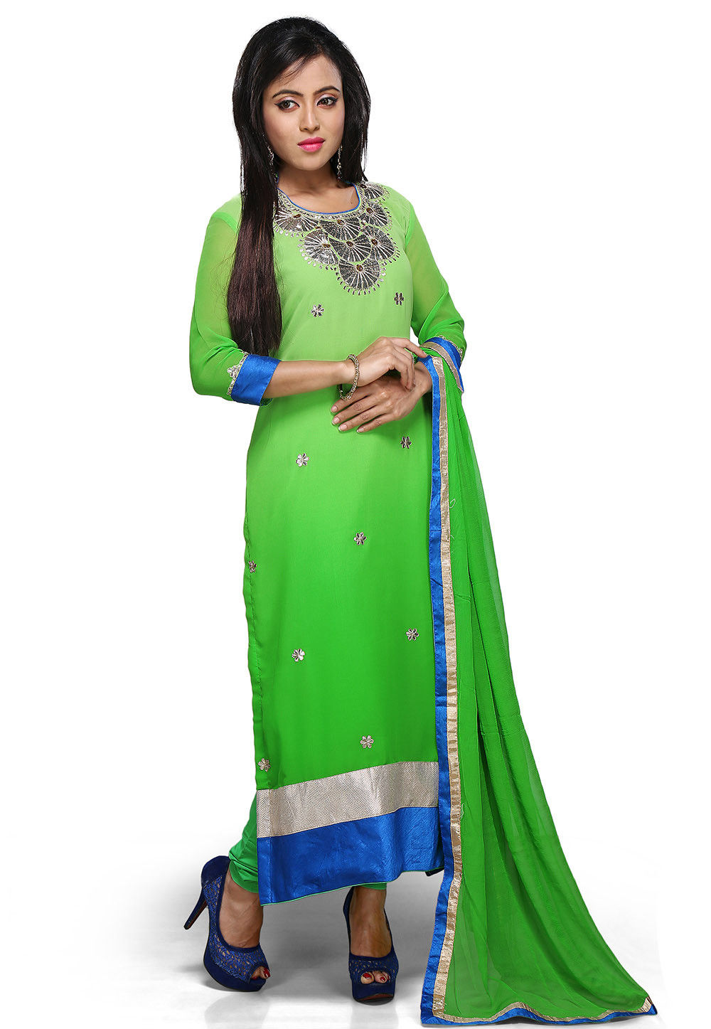 Embroidered Straight Cut Suit in Shaded Green