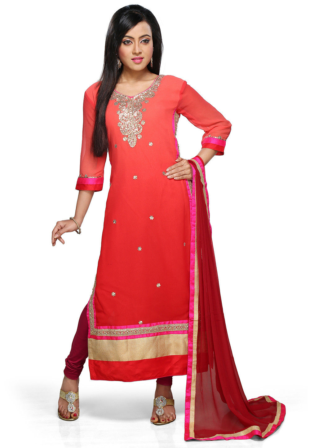 Embroidered Straight Cut Suit in Shaded Red