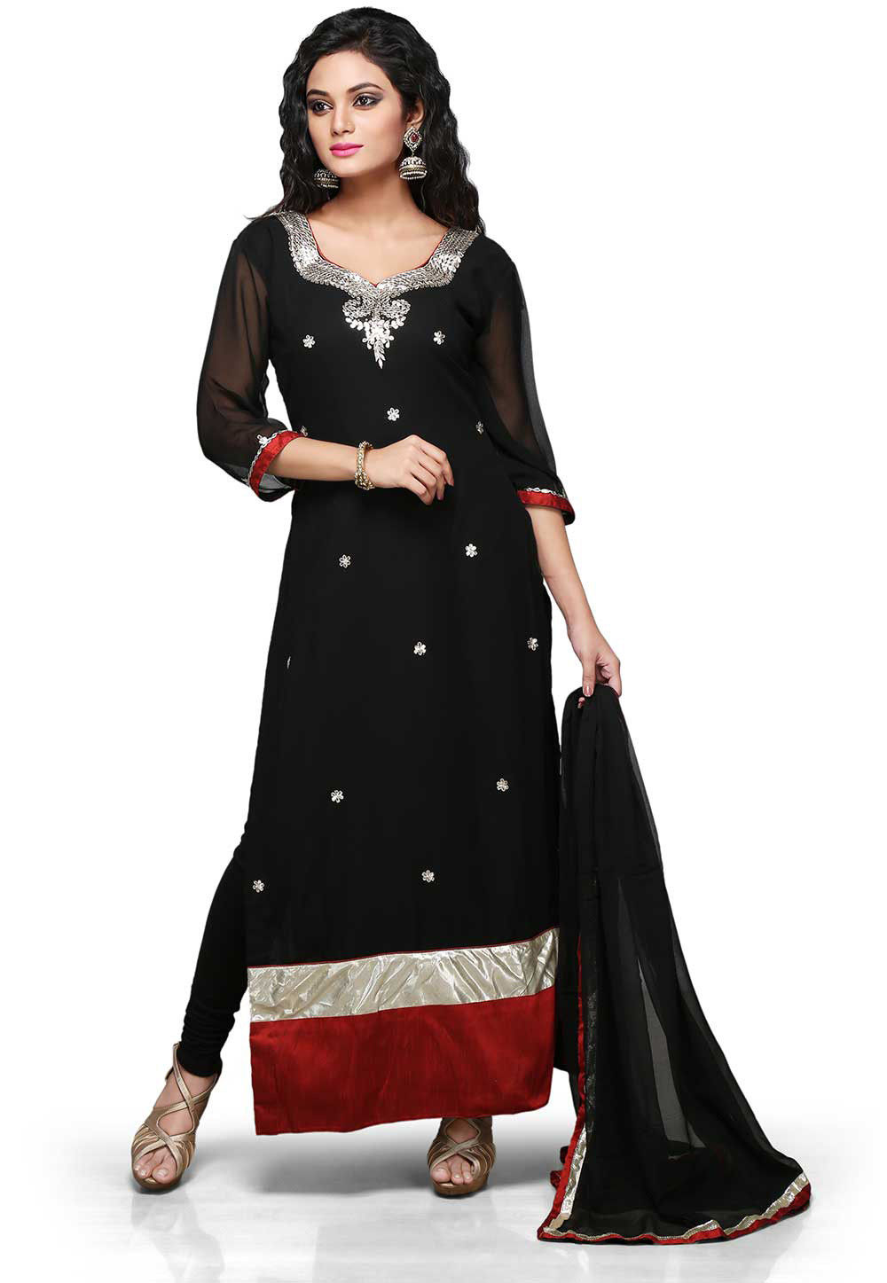 Gota Patti Embroidered Straight Cut Suit in Black