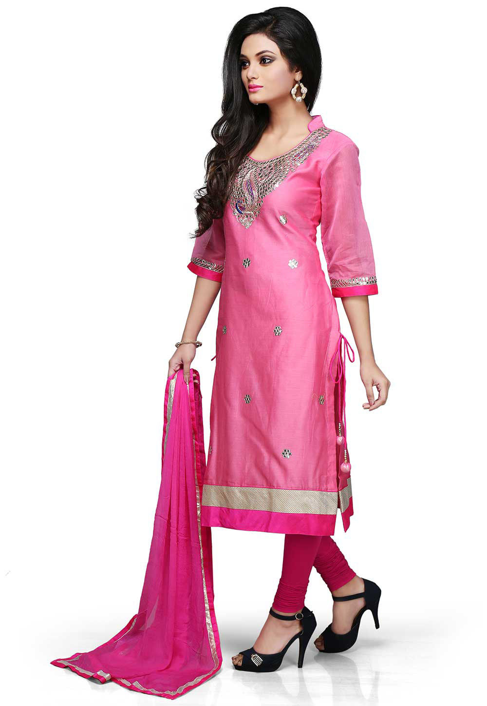 Gota Patti Embroidered Straight Cut Suit in Pink