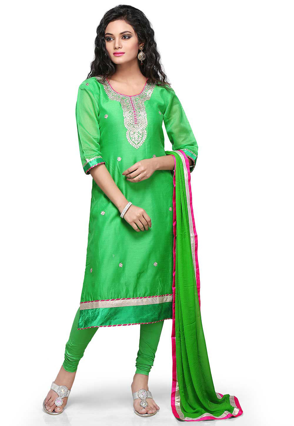 Gota Patti Embroidered Straight Cut Suit in Green