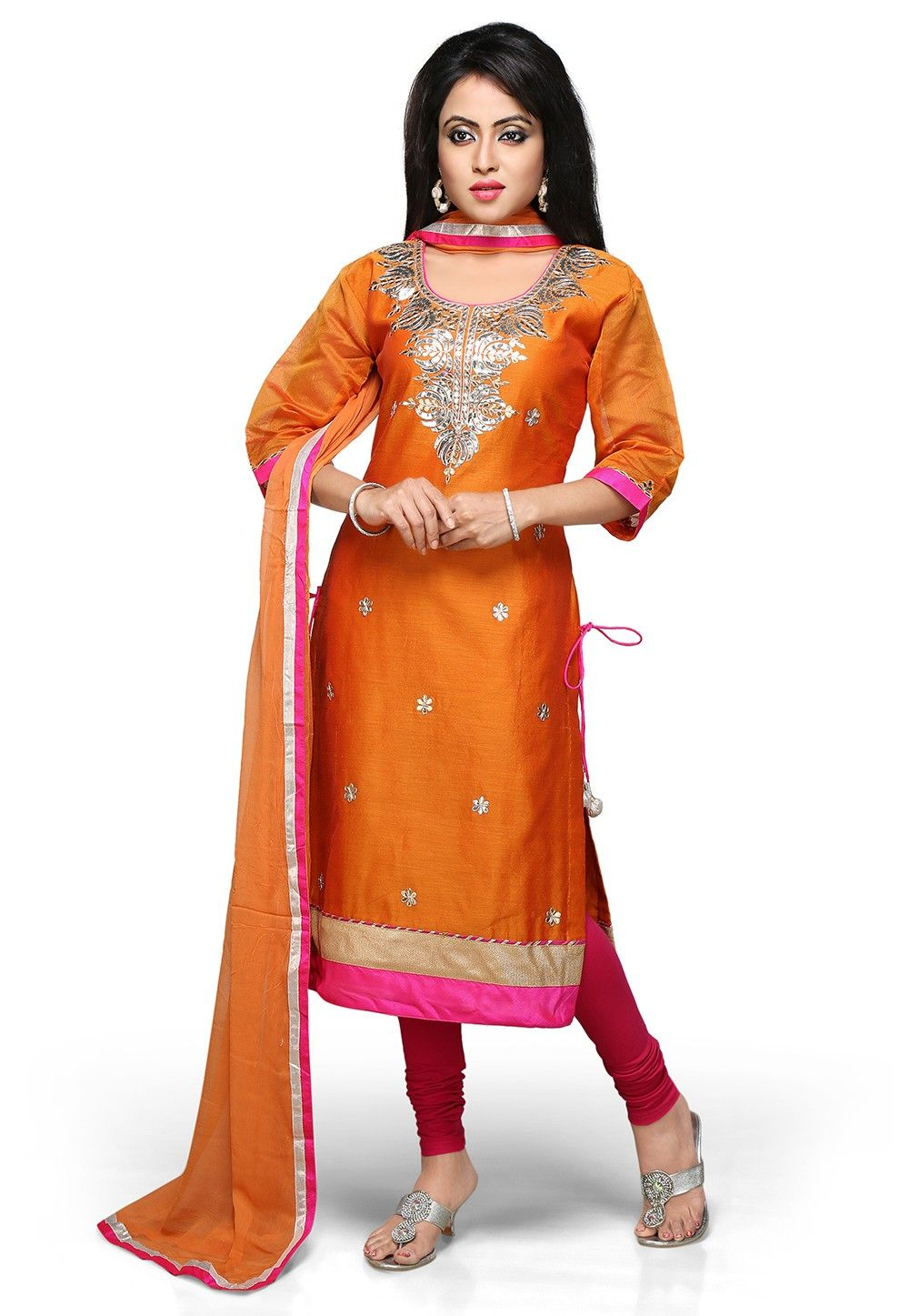 Gota Patti Embroidered Straight Cut Suit in Orange