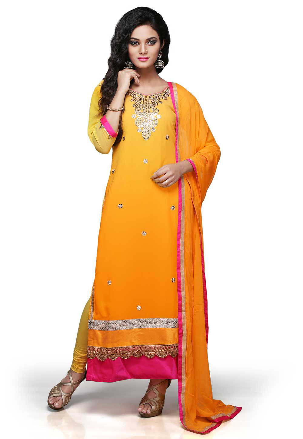 Gota Patti Embroidered Straight Cut Suit in Shaded mustard
