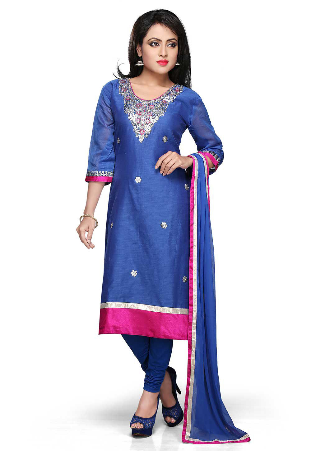 Embroidered Chanderi Straight Cut Suit In Blue