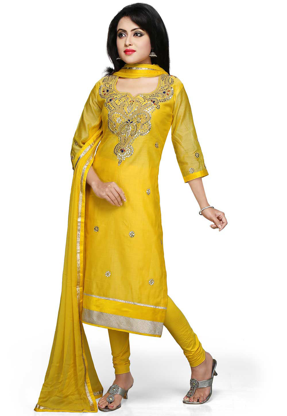 Embroidered Straight Cut Suit in Light Yellow