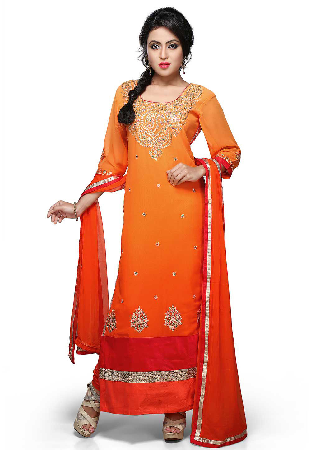 Embroidered Straight Cut Suit In Shaded Orange