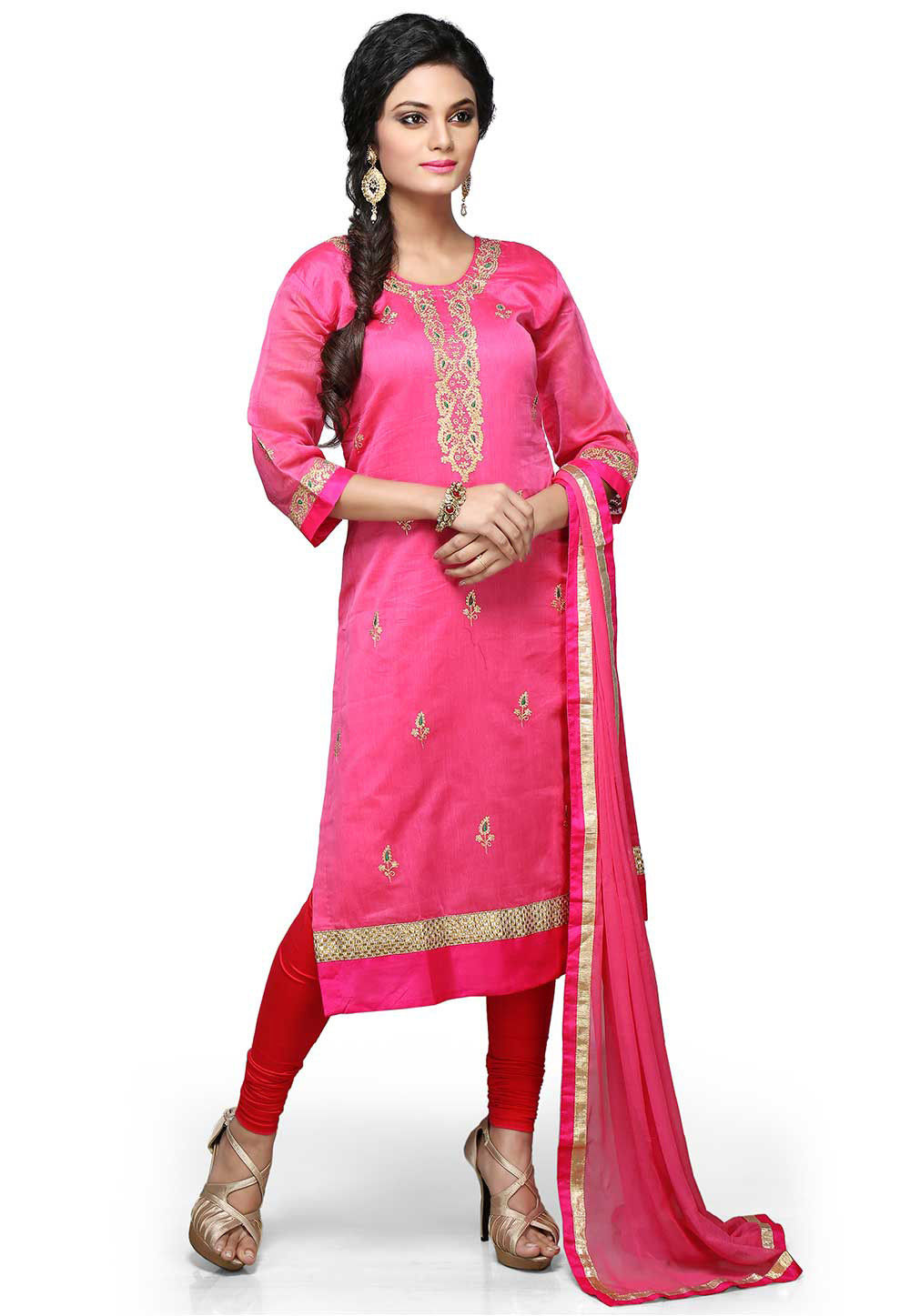 Embroidered Straight Cut Suit In Pink