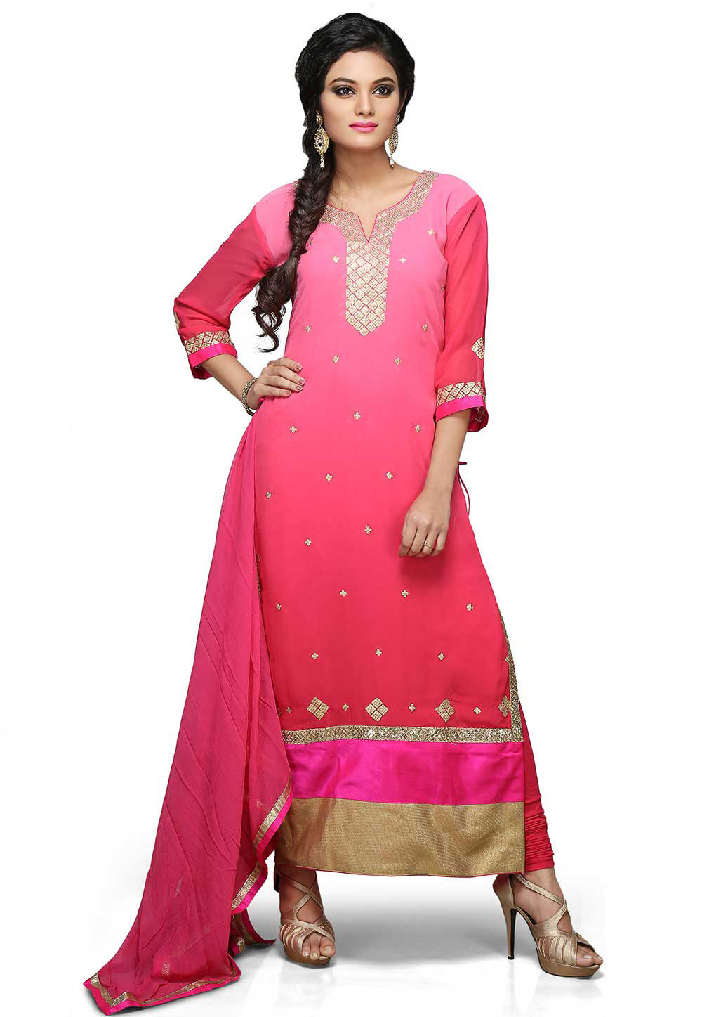 Embroidered Straight Cut Suit In Shaded Pink