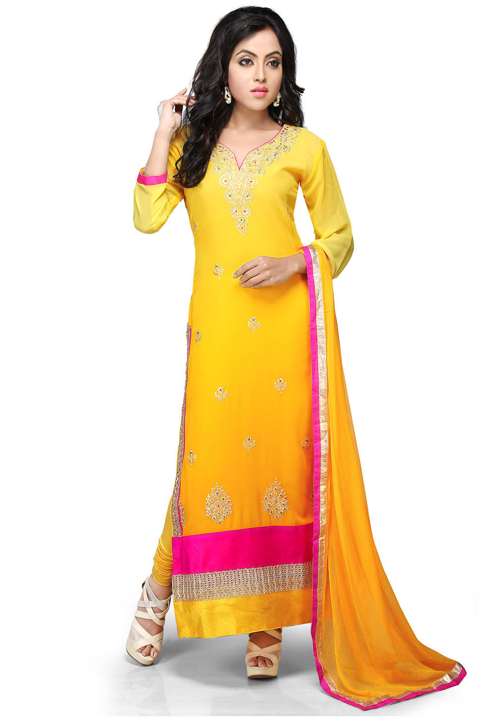 Embroidered Straight Cut Georgette Suit In Yellow