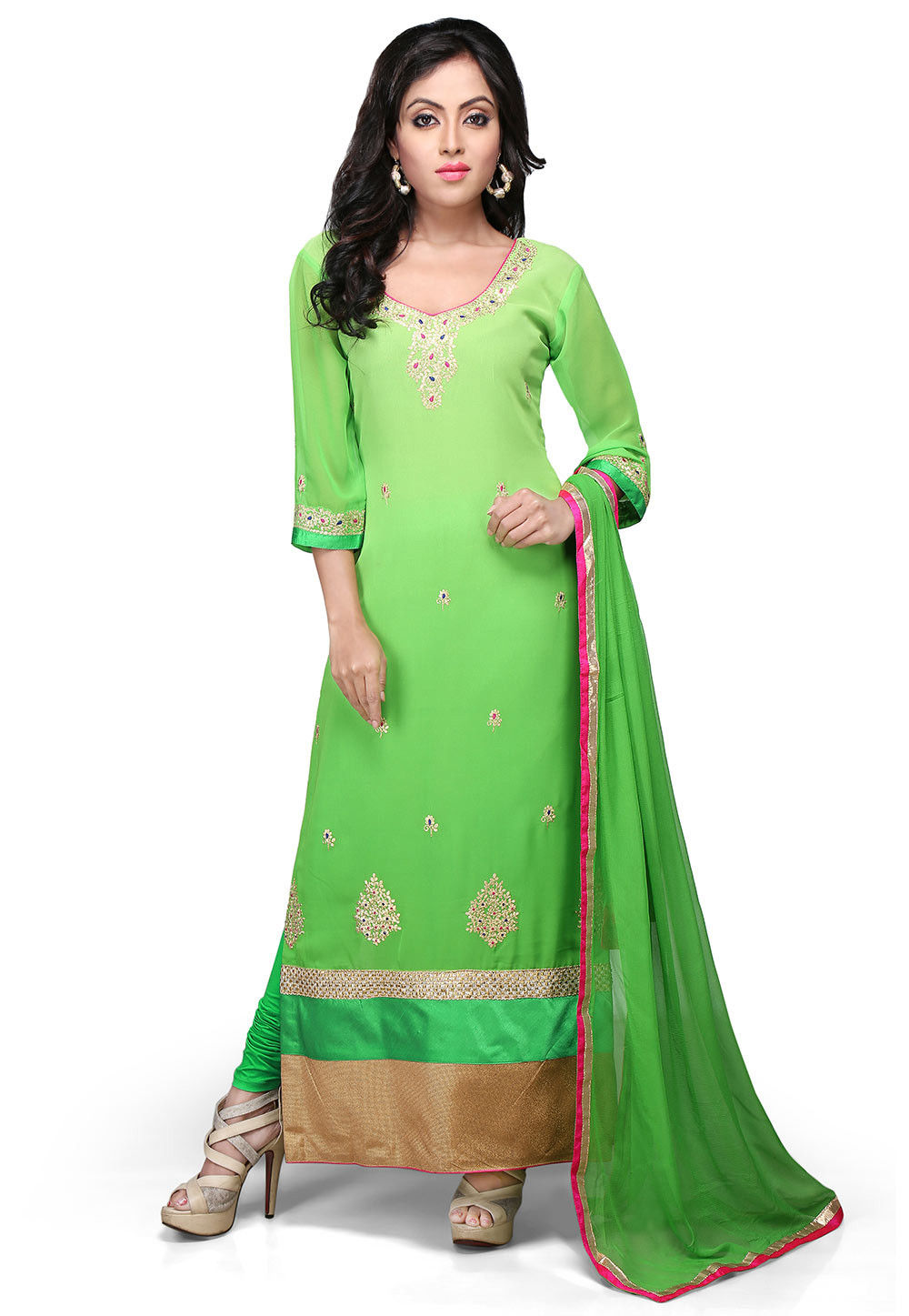 Embroidered Straight Cut Georgette Suit In Green