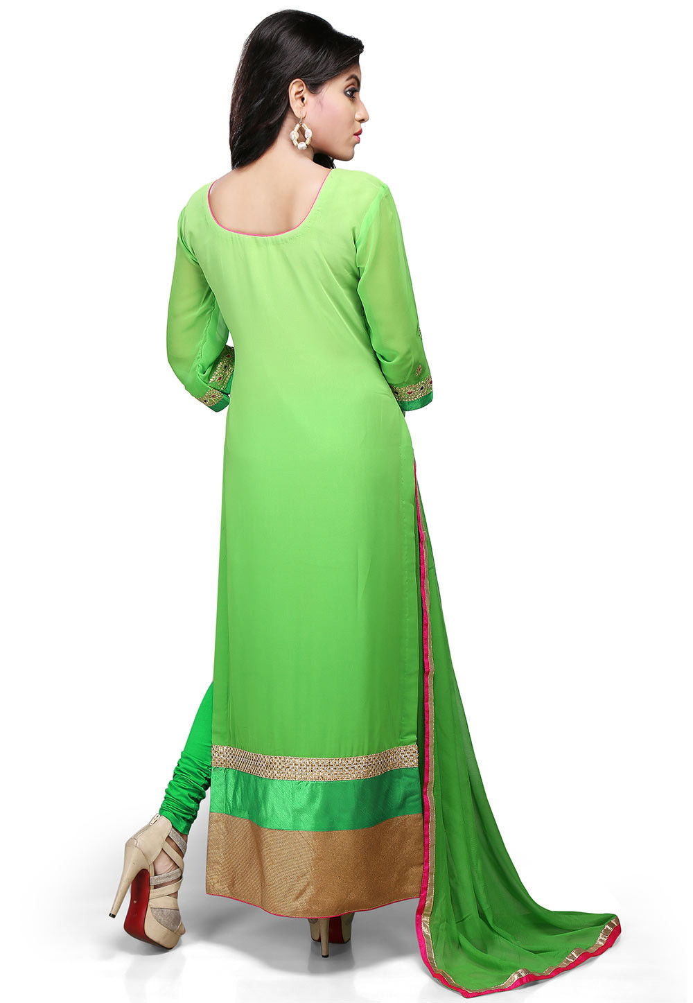 cost of a haircut embroidered cut georgette suit in green kjn1339 4349