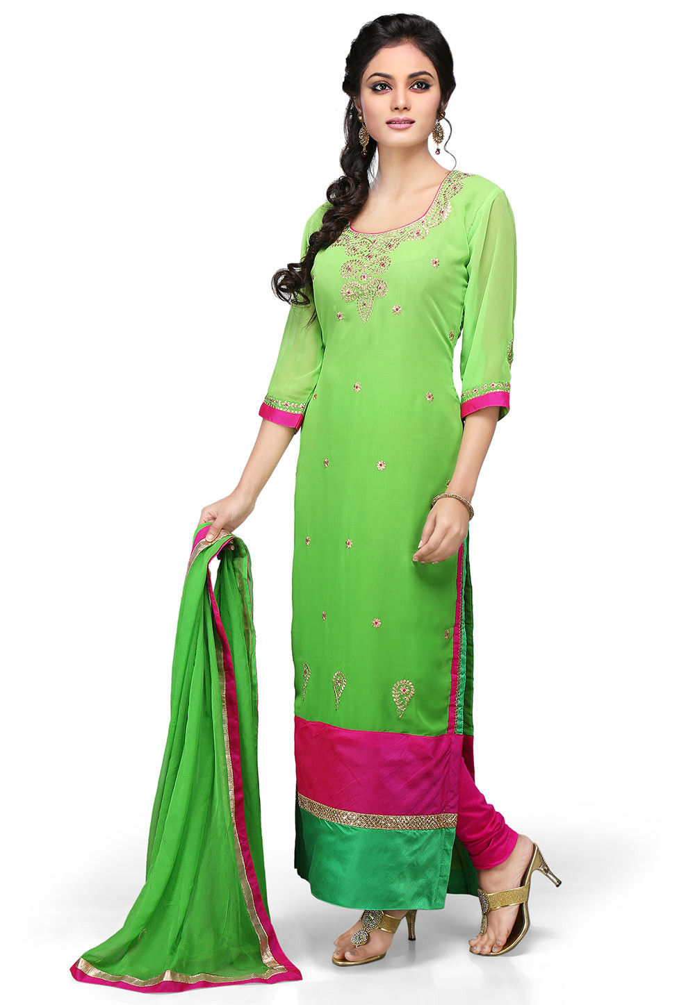 cost of a haircut embroidered cut georgette suit in green kjn1340 4349