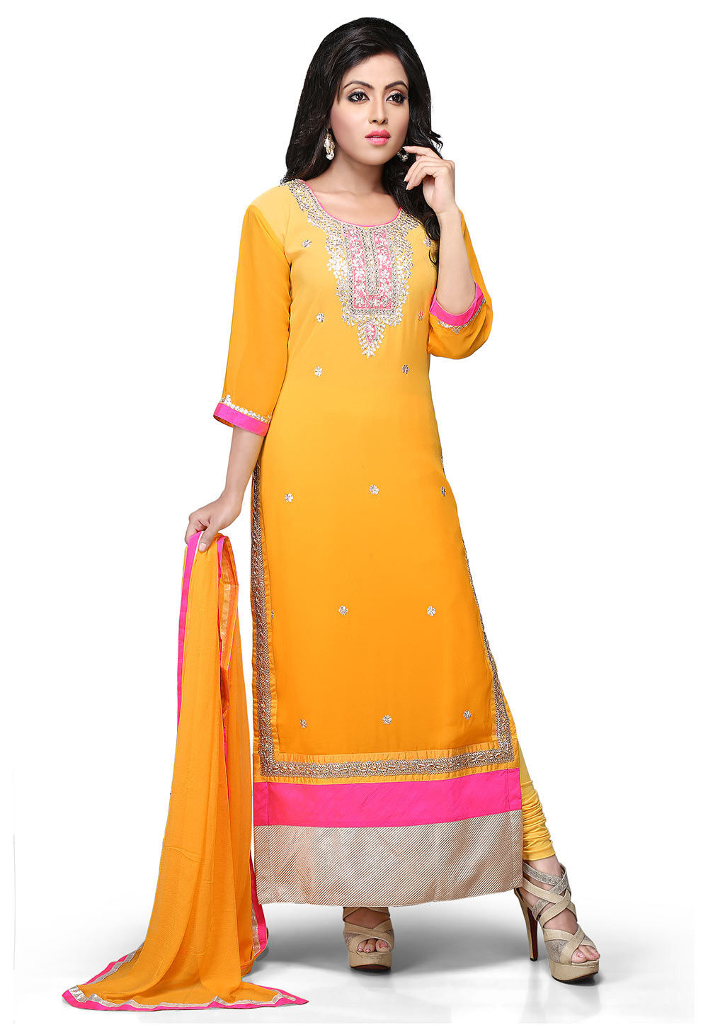 Embroidered Straight Cut Georgette Suit In Mustard