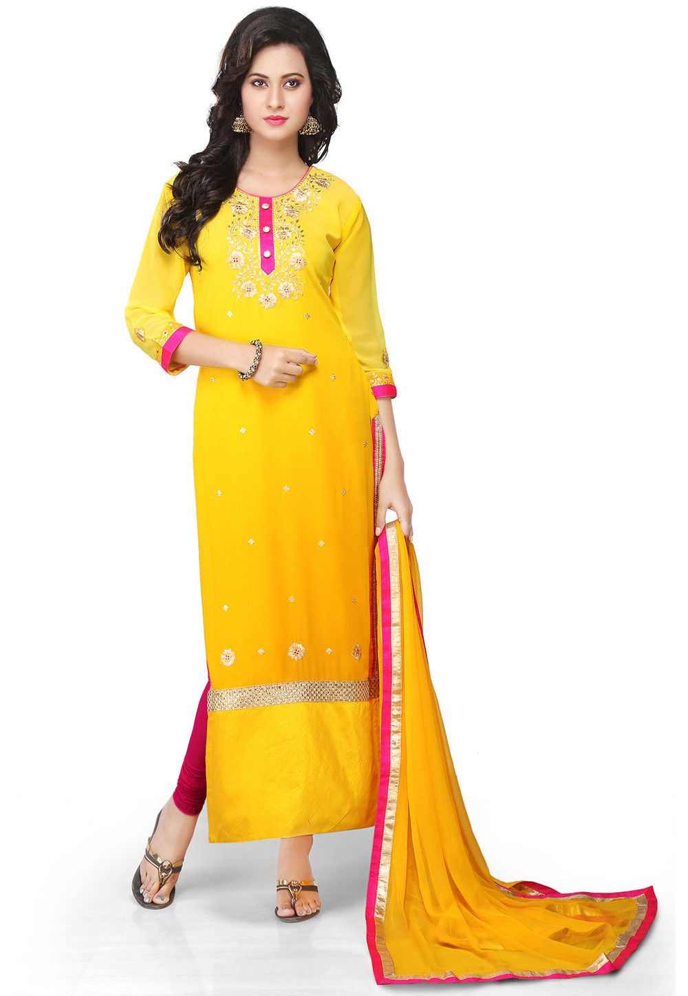 Embroidered Georgette Straight Cut Suit in Yellow