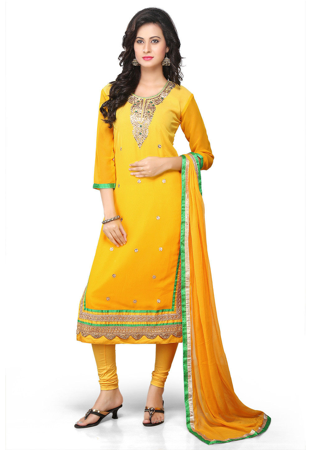 Gota Patti Embroidered Straight Cut Suit in Shaded Yellow