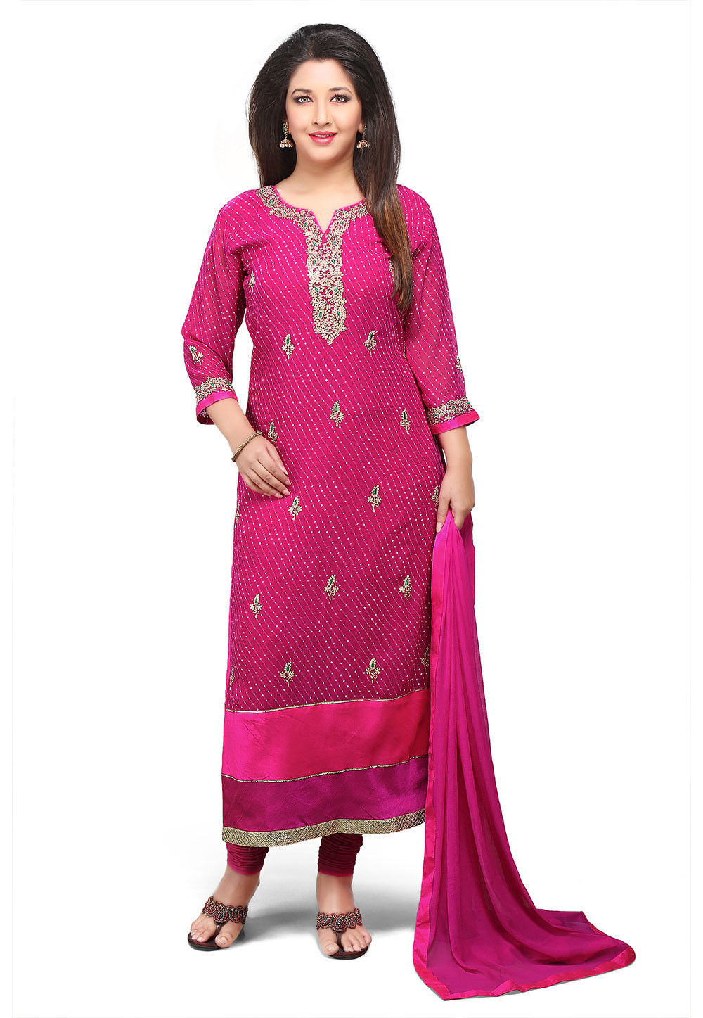 Embroidered Lehariya Georgette Straight Cut Suit in Fuchsia