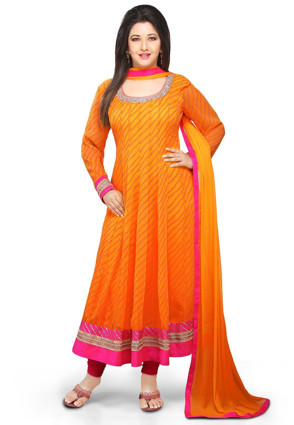 Printed Anarkali Georgette Suit in Orange