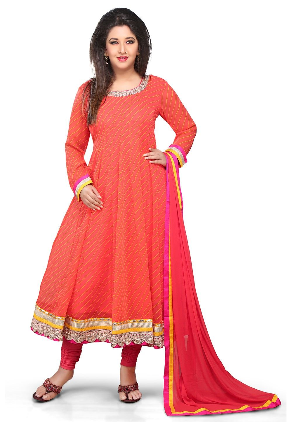 Anarkali Georgette Anarkali Suit In Orange