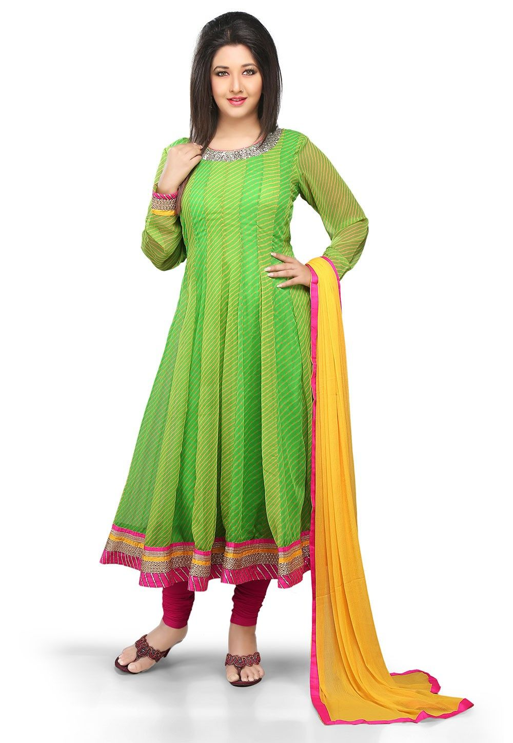 Printed Anarkali Georgette Suit In Yellow And Green